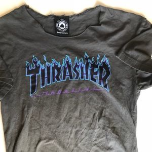 Thrasher grey T-shirt with flames size small